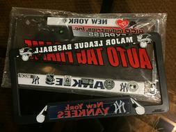 2 New York Yankees License Plate Frames-NWT 1 WHITE Metal/Ch