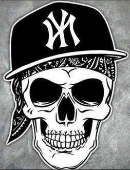 New York Yankees Skull Hat Vinyl Car Window Decal 4x3 Bumpe
