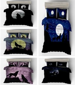 3D Wolves Bedding Set 3 PC Duvet Cover Quilt Pillow Cases Tw