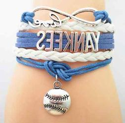 New York Yankees Baseball Sports Team metal and leather brac