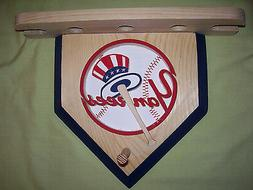 Baseballs & Bats New York Yankees home plate shelf for 3 bal