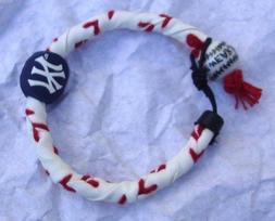 FROZEN ROPE N Y YANKEES BRACELET, GENUINE BASEBALL LEATHER,