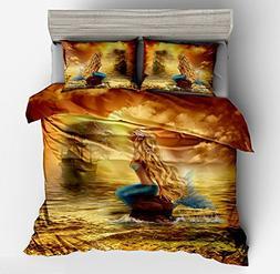 Jameswish Kids Beautiful Golden Mermaid 3-Piece Duvet Cover