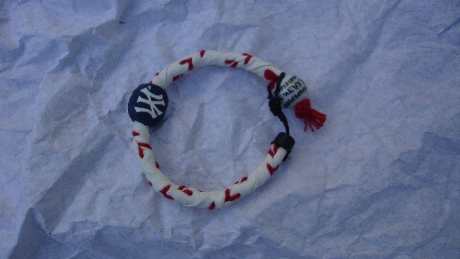 FROZEN Y YANKEES BRACELET, GENUINE BASEBALL LEATHER, ONE ALL
