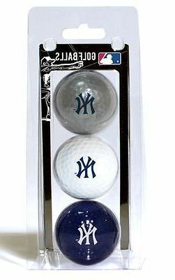 New York Yankees 3 Pack Golf Balls  MLB White Golfing Pk Bal