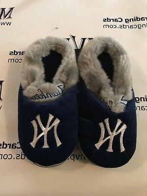 new york yankees blue grey slippers men