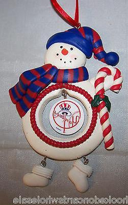 New York Yankees Clay Dough Snowman Christmas Tree Ornament