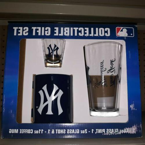 new york yankees collectible gift set pint