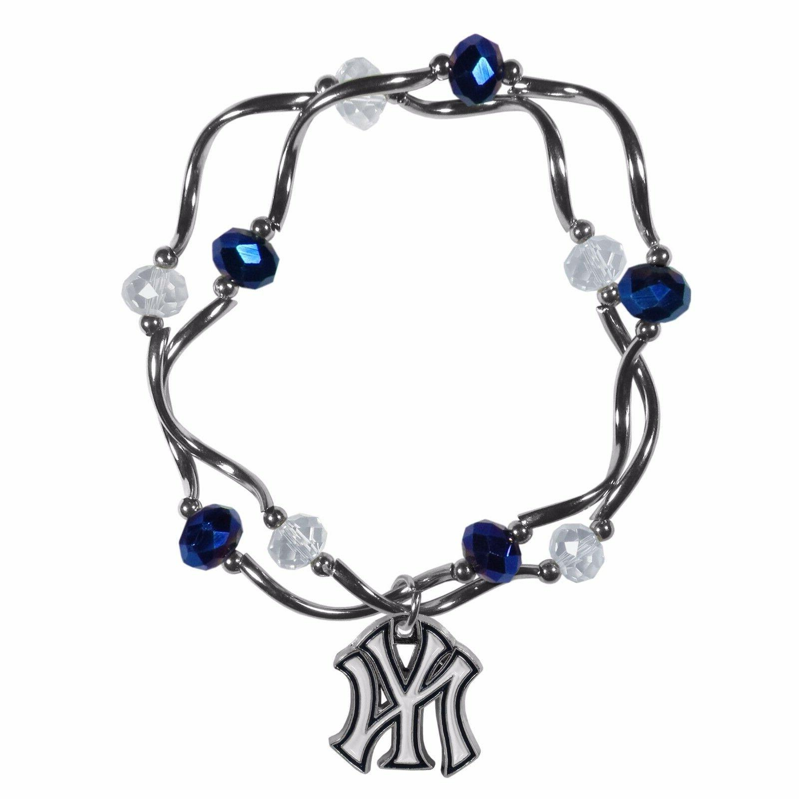 New York Yankees Crystal Beads Bracelet Licensed MLB Basebal