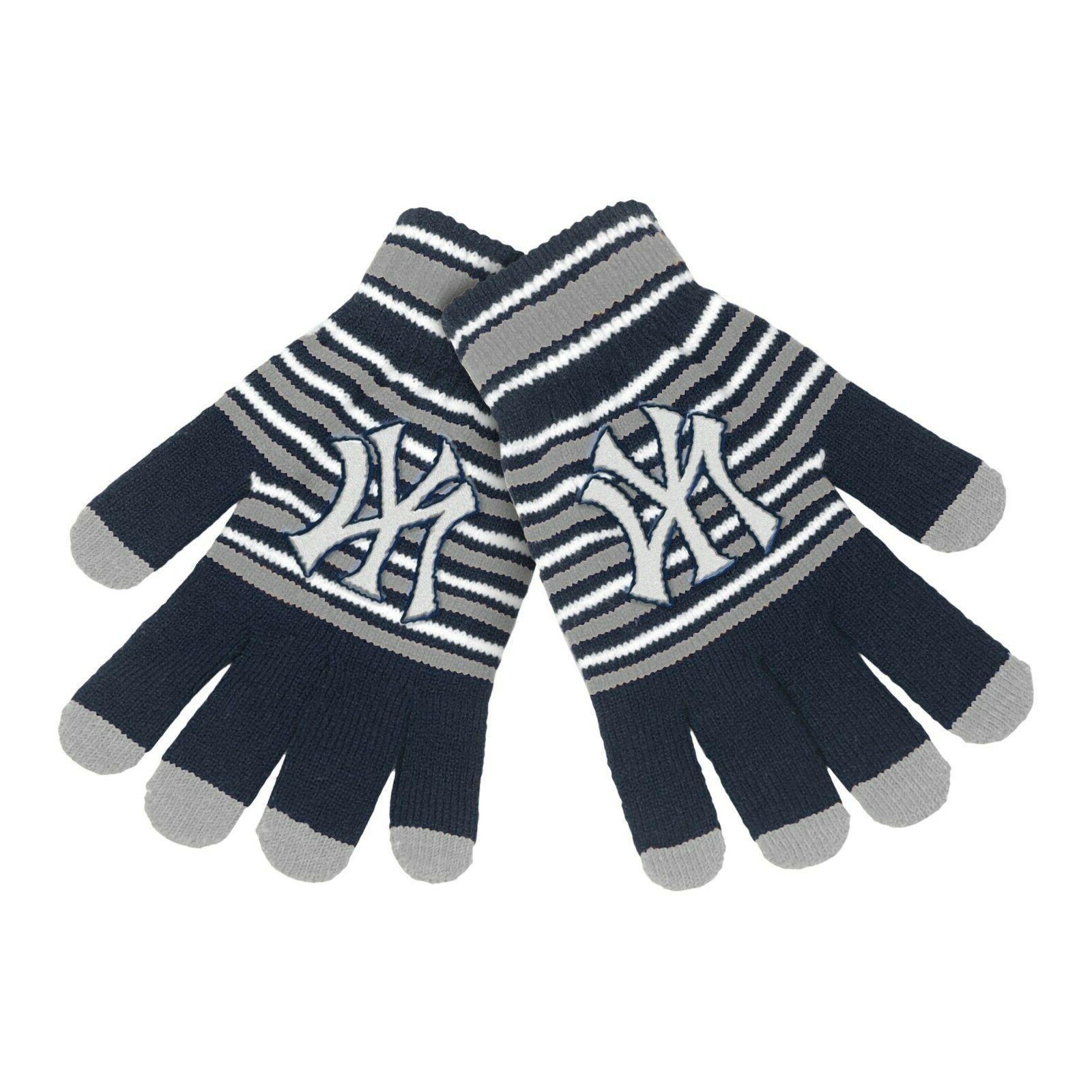 new york yankees gloves acrylic stripe knit