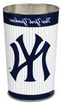 "NEW YORK YANKEES TEAM WASTEBASKET METAL TRASH CAN 15"" MLB BA"