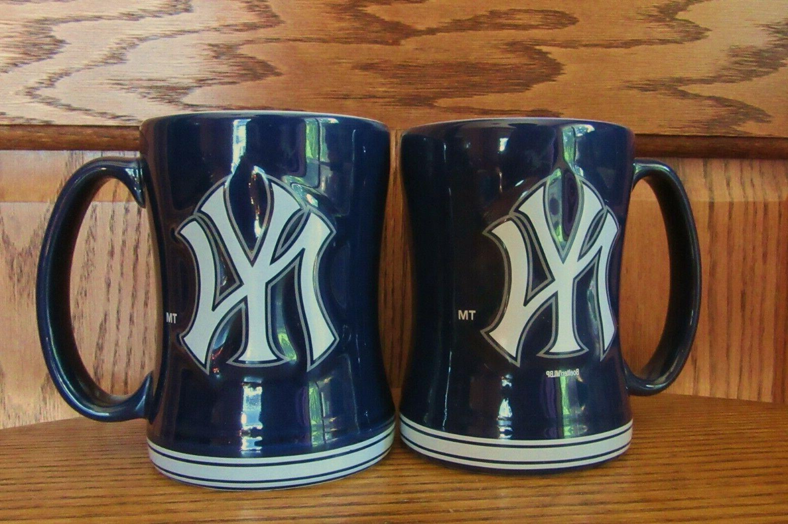 TWO NEW New York Yankees Deep Blue Coffee Mug