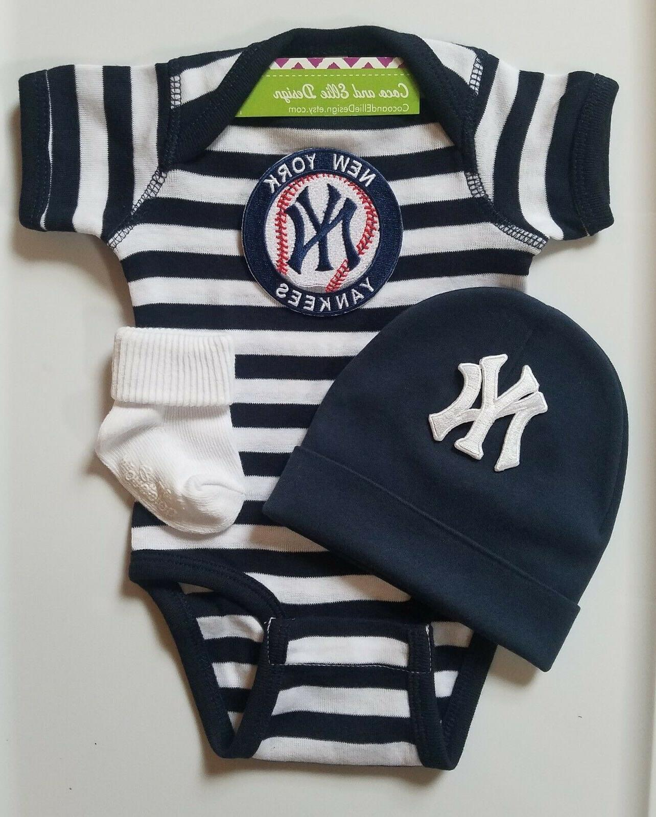 yankees infant baby boy 3 pc outfit
