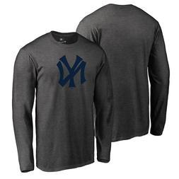 New York Yankees Logo Long Sleeve Heather Gray T-Shirt Baseb