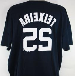 Mens Majestic New York Yankees Mark Teixeira #25 MLB Navy Bi