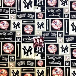MLB Baseball New York Yankees Logo Navy Squares 18x29 Cotton