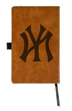 MLB New York Yankees Laser Engraved Brown Leather Padfolio