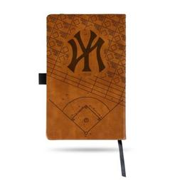 MLB New York Yankees Laser Engraved Leather Notebook - Brown