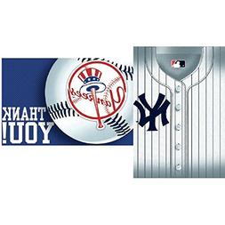 Amscan MLB Party New York Yankees Invitation & Thank You Car