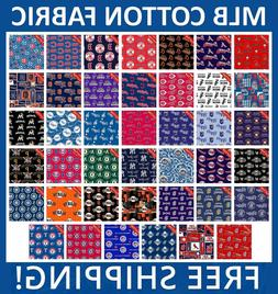 MLB Sport All Teams Collection Cotton Fabric - Free Shipping