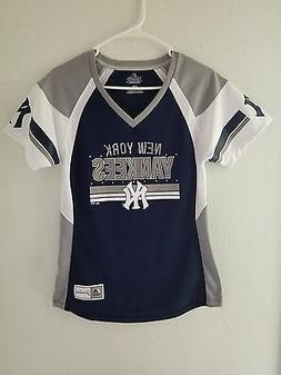 NEW Majestic MLB Apparel NEW YORK YANKEES V-Neck Jersey Wome