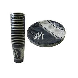 New MLB New York Yankees 40 Disposable Paper Plates Cups Par