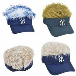 New NY New York Yankees Blue-Blonde-Brown Faux Hair Visor Ad