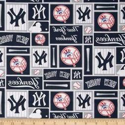 New York Yankees Fabric by the Yard or Half Yard,  MLB, Cott