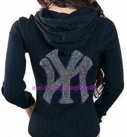 New York NY Yankees Jersey Bling Rhinestone Zipper Hoodie Sw