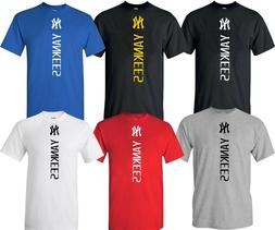 New York NY YANKEES MLB Vertical T-Shirt UNISEX Multi Colors