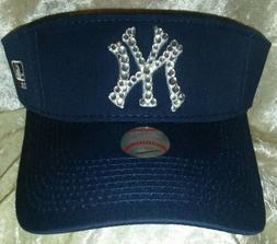 New York NY Yankees Women's Visor Rhinestone Bling MLB  ~NEW