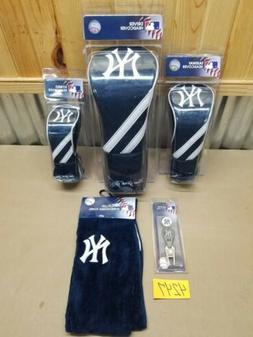 New York Yankees 3 Golf Club Head Covers set, Bag Towel & Di
