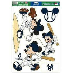 "NEW YORK YANKEES 5 PIECE MICKEY MOUSE DECALS 11""X17"" WALL GR"