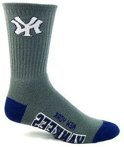 New York Yankees Adult Crew Socks Gray with Navy Heel and To