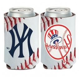 "NEW YORK YANKEES ""BALL DESIGN"" 2 SIDED CAN COOLER/KOOZIE NEW"