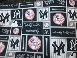 New York YANKEES Baseball Navy White Cotton MLB Big piece! 1