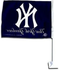 New York Yankees BLUE Premium 2-sided Car Flag w/pole Auto T