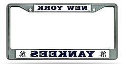 New York Yankees BOLD Design Chrome Frame Metal License Plat
