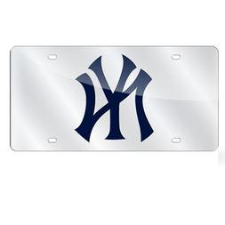 New York Yankees Deluxe Silver Mirrored Laser Cut License Pl