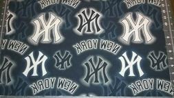 "NEW YORK YANKEES Fabric 14"" x 44""  Large Logos Dots  100% Co"