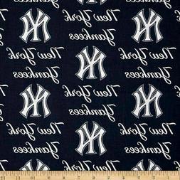 "New York Yankees Fabric 58"" Wide MLB Baseball Pendants Quilt"