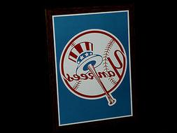 "New York Yankees Hat and Bat Logo Poster 12"" L Frameable MLB"