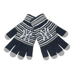 New York Yankees Gloves Acrylic Stripe Knit Sports Logo Wint