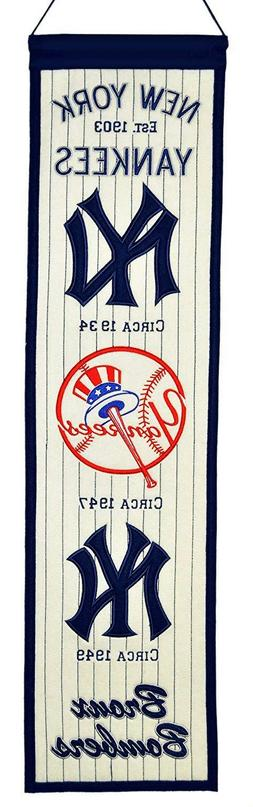 NEW YORK YANKEES Heritage Banner Embroidered Wool Flag Man C