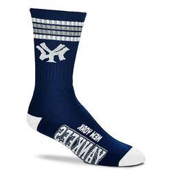 New York Yankees For Bare Feet MLB 4 Stripe Deuce Crew Socks