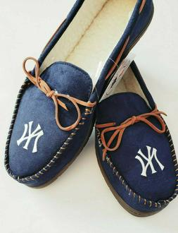 New York Yankees MLB Mens Moccasins Hard Rubber Sole Slipper