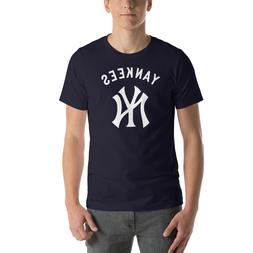 New York YANKEES Navy T-Shirt Graphic Cotton Men Adult Logo