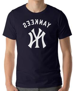 New York YANKEES Navy T-Shirt WHITE Graphic Cotton Adult Log