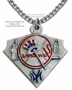 NEW YORK YANKEES NECKLACE STAINLESS STEEL CHAIN - MLB BASEBA