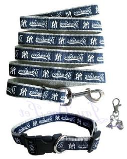New York Yankees Nylon Pet Collar and Leash with Charm; Med